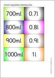 ml, and l equivalents matching cards - colour (SB10182) - SparkleBox