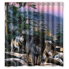 Custom Wolf Design Waterproof Polyester Fabric Bathroom Shower Curtain 66  Inch X 72 Inch,about