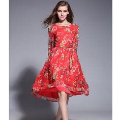 Summer Style 2015 Women Dress Red O-neck Chiffon Dress Flower Print Cute Knee-Length Female Dress Vestidos Free Shipping
