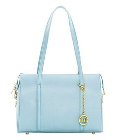 82efe2f18752 Another great find on #zulily! Light Blue Barrel Leather Satchel # zulilyfinds Purse Styles