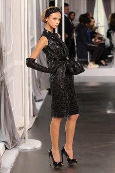 embroidered black crocodile and patent dress, Dior Haute Couture