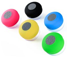 Splash Tunes by FresheTech Bluetooth Waterproof Shower Speakers ~ the speaker is equipped with a suction cup that sticks to nearly any flat surface and can be used in any wet environment.