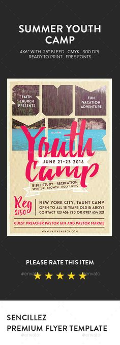 Buy Summer Youth Camp Flyer by Sencillez on GraphicRiver. Summer Youth Camp Flyer Summer Youth Camp Flyer best suited for church camp, camps, church activities, event or sessi. Flyer And Poster Design, Flyer Design, Banners, Summer Youth, Youth Camp, Church Camp, Concert Flyer, Church Design, Vacation Bible School