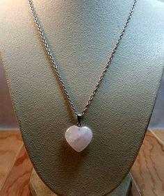 pink rose quartz heart necklace-rose quartz heart necklace-rose quartz hearts-rose quartz pendant-gemstone heart-pink heart necklace