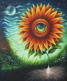 Sunflower/eye tattoo I would love to have on my shoulder.
