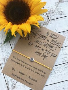 Buy Sunflower Quote Wish Bracelet on A Wax Cotton Cord. Includes Zinc Alloy Sunflower Charm on A Card. Positive Wishes, Shine at Wish - Shopping Made Fun Sunflower Quotes, Sunflower Gifts, Sunflower Jewelry, Sunflower Accessories, Sunflower Cupcakes, Sunflower Garden, Wish Bracelets, Boyfriend Birthday, Christian Quotes