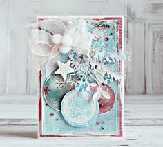 christmas ornament card, pine branch die, star, bow, Kaisercraft - Silver Bells - Anna Zaprzelska