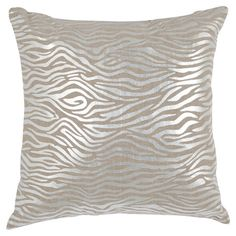 Showcasing a chic zebra-print motif highlighted by a shimmering silver finish, this linen pillow infuses your sofa or bed with a touch of glamour.