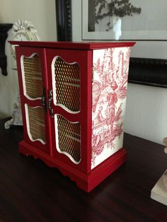 Antique Musical Upcycled Jewelry Box Hand Painted And Decoupaged Farmhouse Red Toile  via Etsy