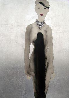 "Saatchi Art Artist: Bridget Davies; Ink 2013 Painting ""Glass Necklace"""