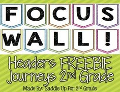 These headers are to create a focus wall for the 2012 Journeys curriculum.They are in bright colors that can be used to match all types of classroom decor. The pennants spell out the title FOCUS WALL. Print the headers and laminate for durability. You can find Journeys Focus Wall sets for each story as they become available in my TPT store.