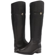 Tory Burch Jolie Riding Boot (Black) Women's Boots ($495) ❤ liked on Polyvore featuring shoes, boots, knee-high boots, round toe boots, black equestrian boots, black boots, black metal boots and black knee high boots