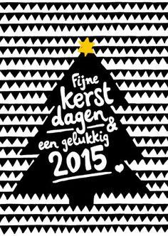 Hippe kerstkaart in zwartwit met gele ster. Illustratie van driehoekjes, kerstboom en handgeschreven tekst. Te vinden op: https://www.kaartje2go.nl/kerstkaarten