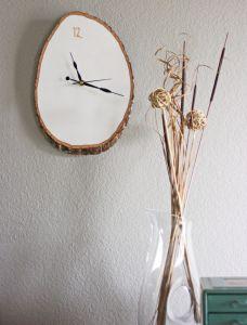 wanddeko mit diy wanduhr aus holz basteln mit naturmaterialien - Holzbasteln