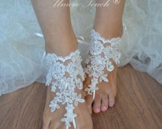 Red silver lace barefoot sandals beach wedding barefoot