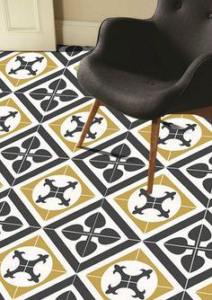 Geometric Amadeus Wallpaper In Carbon Removable Vinyl Wallpaper - Encaustic vinyl flooring