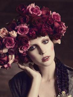 Floral head of burgundy wine, pink & blush tones roses.