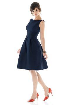 1950 s Old Hollywood Alfred Sung Bridesmaid Dress Weddington Way in Midnight 164 4398 |Green Heels|