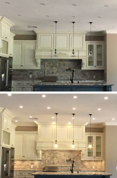 Lighting makes ALL the difference in this beautiful kitchen. PMMI LED Low Voltage DC Flush Mount Fixtures, POE, Power over Ethernet,  Smart Home Lighting with Arduino & Raspberry Pi Control #modernlighting #smarthomelighting  #LEDlightingmanufacturers  #solarlighthome #newhomeledlighting #ledsystemsforhome #lightingautomation #LEDhomelighting #lowvoltagelighting #DClighting #PoE #PowerOverEthernet #pmmilighting #flushmountlighting  #arduino #raspberrypi #offgrid #dcledfixture