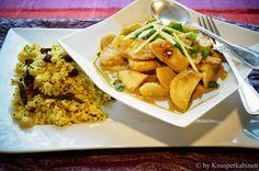 KNUSPERKABINETT: Winterliches Curry mit Gewürzhirse vegan und glutenfrei Garam Masala, Tasty, Yummy Food, Chicken Wings, Meat, Healthy, Ethnic Recipes, Advent, Vegan Main Dishes