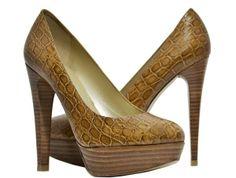 Stuart Weitzman - Stilts Crocodile High Heels - Camel - Size 8.5 M - New