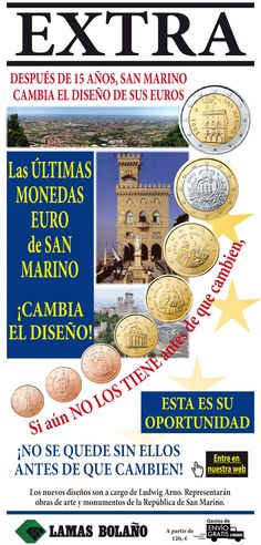 Lamas bolaño - the latest euro coins of San Marino @LamasBolano Shop: http://bit.ly/2jGAoWD  #coins #euro Ultimas Monedas, tirada limitada