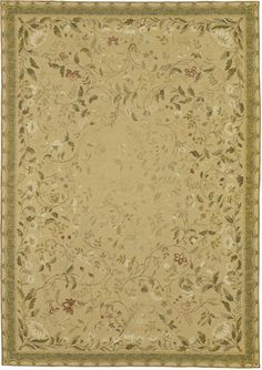Home > View All > Pavilion Needlepoint Rug     Pavilion Needlepoint Rug 2803GD $76.00 per sq ft  Standard Sizes:   Rosy brick-red and white flowers with sage green leaves and tone on tone curving vines trail toward the center of a wheat gold fresco™ background, surrounded by a teal canopy border. Using ancient French dyeing methods, thousands of subtle color shades give this hand made needlepoint rug a look reminiscent of the frescoes of Pompeii.