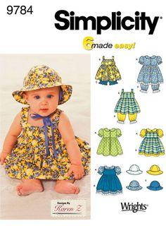 Выкройка Simplicity — Платье, Штанишки, Панама для малыша - S9784