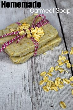 Easy Homemade Oatmeal Soap with only 2 ingredients! This DIY homemade oatmeal soap is so simple! You'll wonder why you never made this before! Fun for kids to help make, and gentle enough for the whole family to use! Great for gifts! Check out how easy this is!