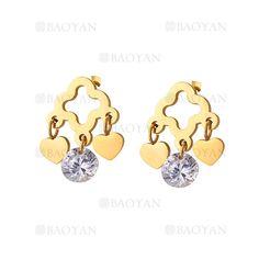 aretes de corazon con dije cristal de dorado en acero-SSEGG804711