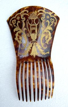 Victorian Faux Tortoiseshell Spanish Mantilla Style Comb with Gilding Hair…