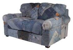 Denim 2 Seater Sofa Made Of Levi's Jeans - Matt Blatt