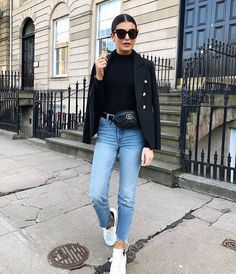 """6f22364a03b Chique and stylish on Instagram  """"Simple but chic ...  gucci  guccibag   alexandermcqueen  whitesneakers  croppedjeans  highwaistjeans  beltbag   blackblazer ..."""