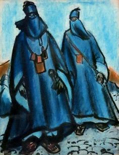 Peinture Algérie - Charles BROUTY (1897-1984) - Deux femmes du Hoggar