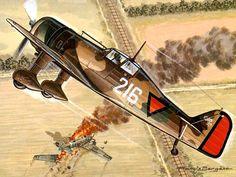 Dutch Fokker DXXI downs a German Ju-52
