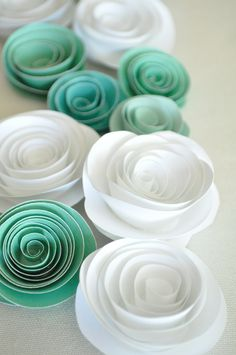 Paper Flowers Teal and White Paper Flowers Wedding Table Decorations