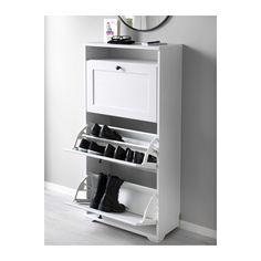 """BRUSALI Shoe cabinet with 3 compartments - white - IKEA Width: 24 """" Depth: 11 3/4 """" Height: 51 1/8 """" $69.99"""