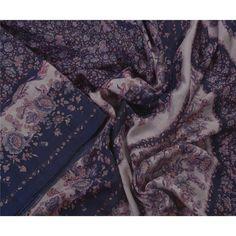 United Sanskriti Vintage Cream Saree Pure Crepe Silk Hand Beaded Craft 5 Yd Fabric Sari Volume Large Embroidery