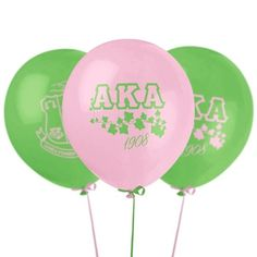 Add a special touch to your AKA celebration with some pink and apple green AKA Sorority Balloons Sorority Party, Aka Sorority, Alpha Kappa Alpha Sorority, Sorority Outfits, Sorority And Fraternity, Sorority Life, Alpha Kappa Alpha Paraphernalia, Divine Nine, Greek Gifts
