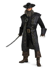 Pirates of the Caribbean Blackbeard Deluxe Adult Mens Costume $65  Halloween Pirate's Nightmare in the Caribbean Party Decorations & Ideas