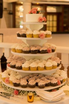 Coral and Blush Pink Cupcake Tower and Cutting Cake