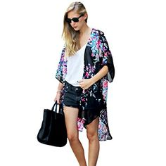 Cardigan Hatop Women Summer Floral Printed Chiffon Kimono Cardigan Shawl Blouse Tops Cover up S -- You can get more details by clicking on the image.