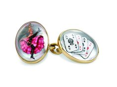 """Gold """"Road to Ruin"""" Hand-Painted Cufflinks"""