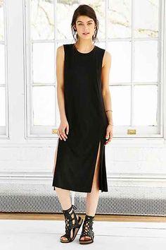 Silence + Noise Thigh-Slit Tank Midi Dress