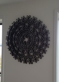 Melanie's wall decoration.  Made from toilet paper rolls.  So clever..