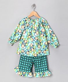 Take a look at this Turquoise Flora Tunic & Pants - Toddler & Girls by Booth Parker & Girl Time on #zulily today!