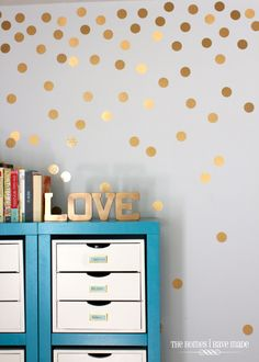 Decorating with contact paper - DIY gold polka dot wall