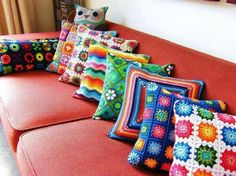 Just look at this wide range of crocheted cushions. They are although same ins size and shape because they were meant to be placed on same couch, but we have brought about a difference by introducing large variety of crochet thread shades here.