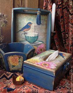 """Купить """"Сады для синей птицы"""" САЛФЕТНИЦА - салфетница, синий, синяя птица, набор для кухни"""