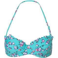 Green Floral Bikini Top (20 CAD) ❤ liked on Polyvore featuring swimwear, bikinis, bikini tops, bathing suits, bikini, swimsuits, swim, push up bikini top, ruffle bikini top and swimsuits tops